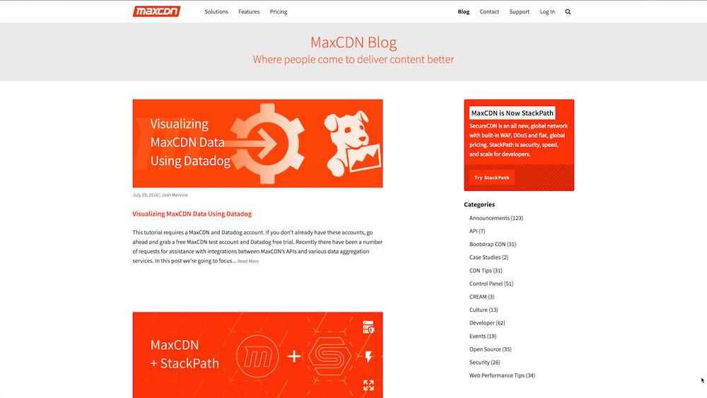 maxcdn blog homepage