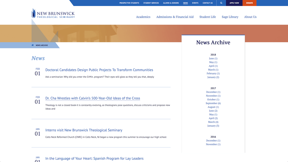 New Brunswick Theological Seminary news feed on site