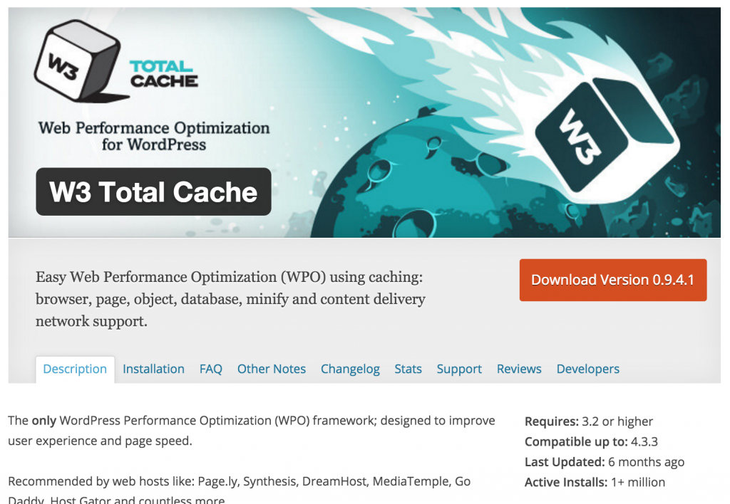 The W3 Total Cache plugin page in the wordpress directory