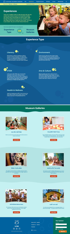 Screenshot of experiences homepage