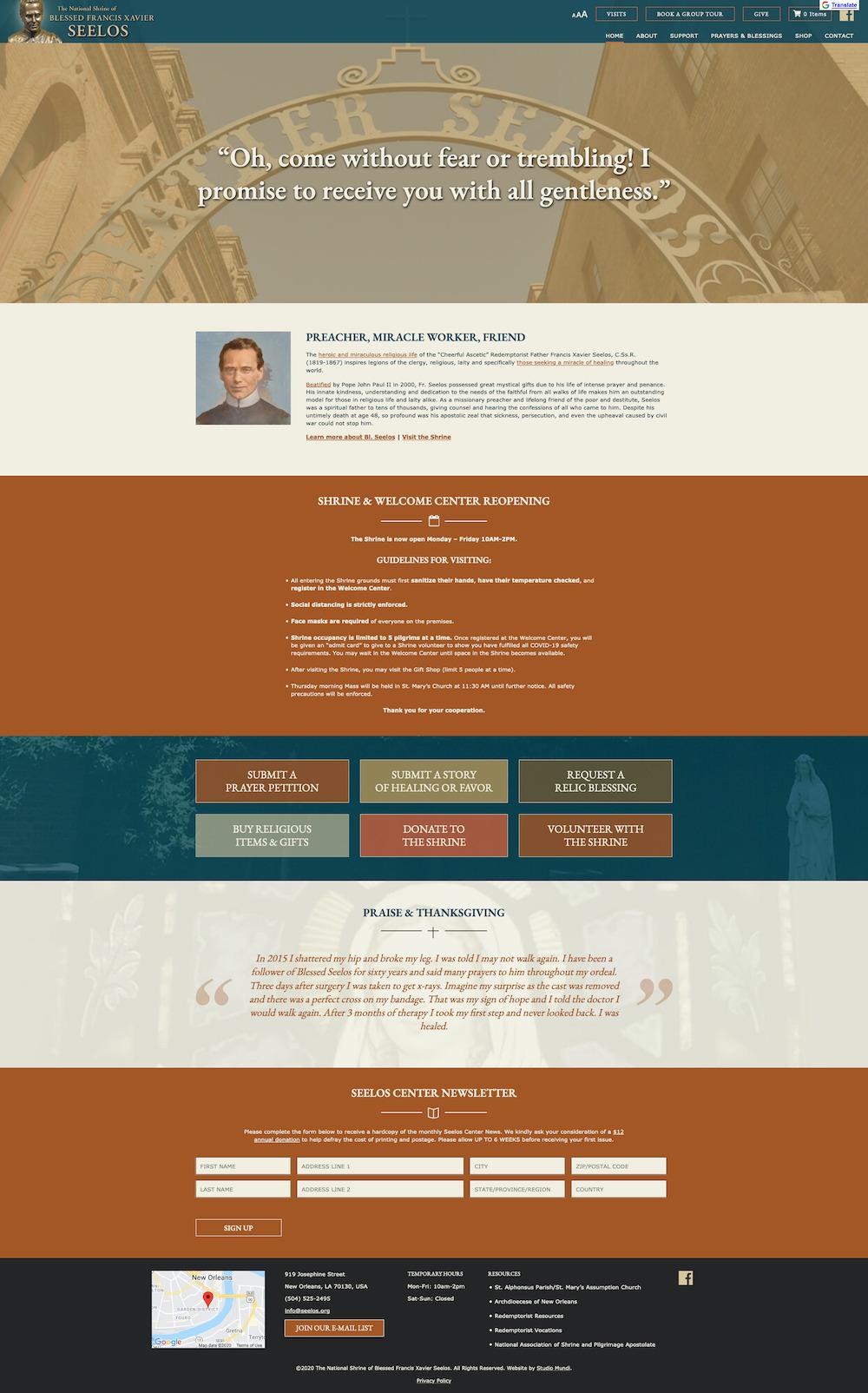 Screenshot of seelos center website homepage
