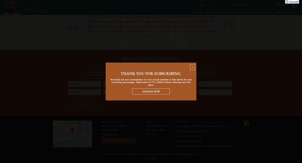 Screenshot of seelos center newsletter popup