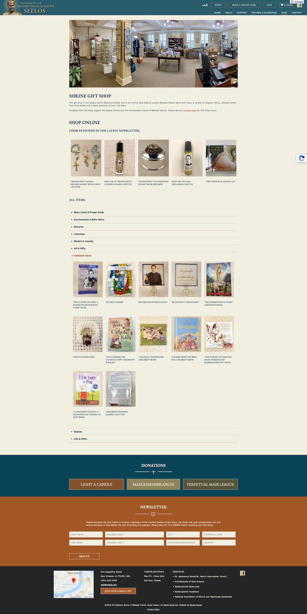 Screenshot of seelos center online shop